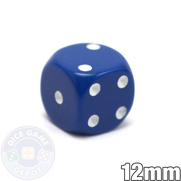 Round-corner 12mm opaque dice - Blue