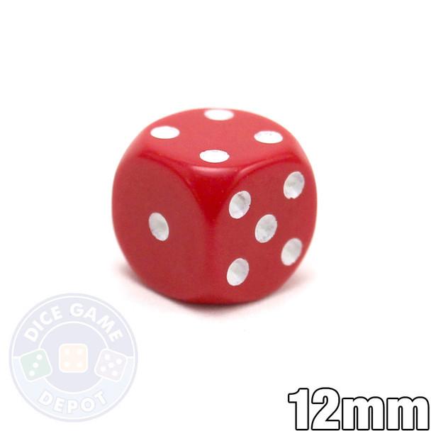 Round-corner 12mm opaque dice - Red