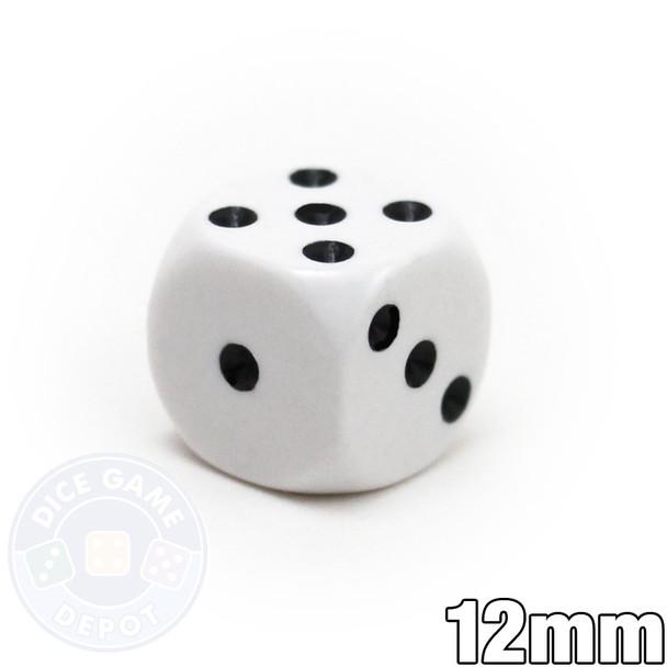 Round-corner 12mm opaque dice - White