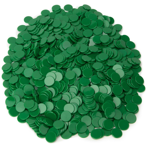1000 solid green bingo chips/counting chips