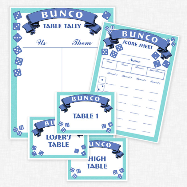 Bunco printable collection - Score cards, table tallies, table markers