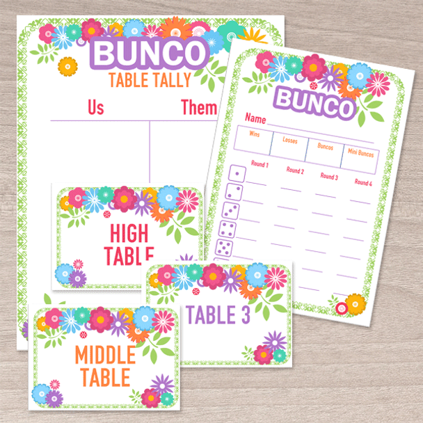 image regarding Free Printable Bunco Table Tally Sheets titled Printable Flower Bunco Fixed - Rating Playing cards, Tallies, Markers