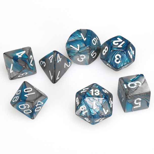 7-piece Gemini dice set - D&D dice - Steel and Teal