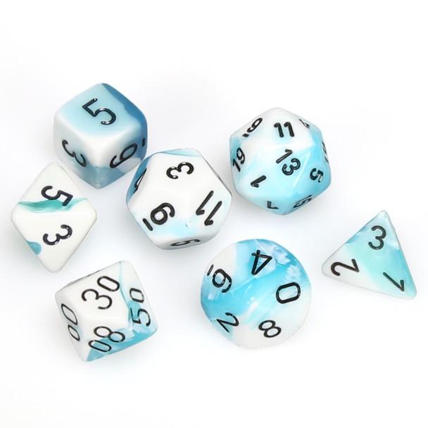 7-piece Gemini dice set - D&D dice - White and Teal