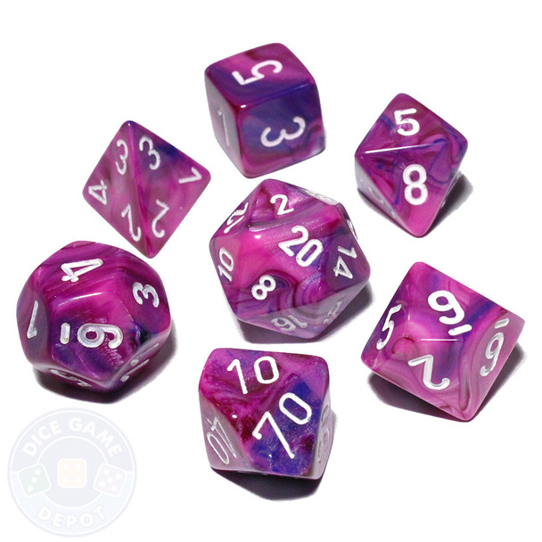 7-piece Festive dice set - DnD dice set - Violet