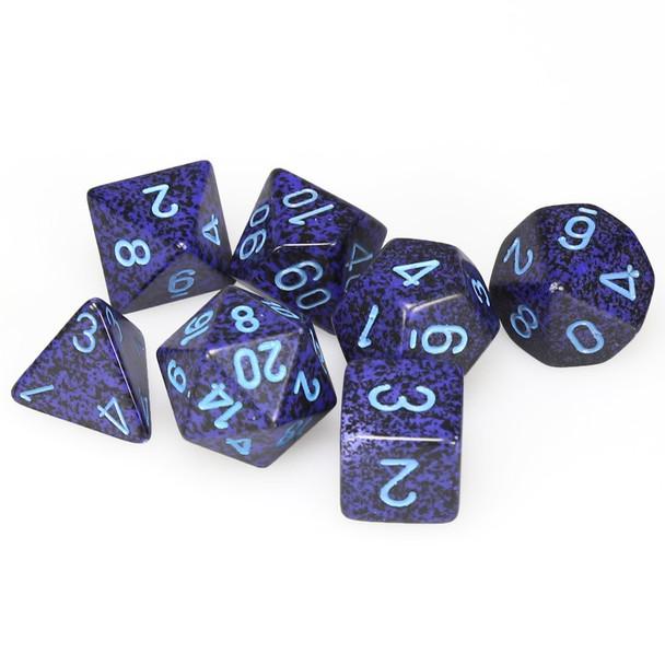 Speckled Cobalt polyhedral dice set - DnD dice