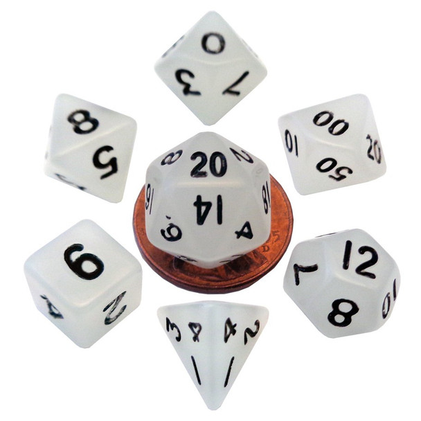 Mini 10mm glow in the dark dice set - DnD dice