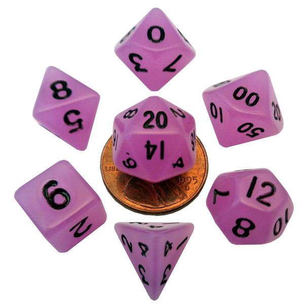 Mini 10mm purple glow in the dark dice set - DnD dice
