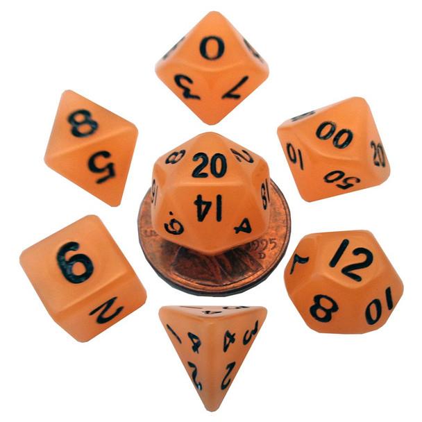 Mini 10mm orange glow in the dark dice set