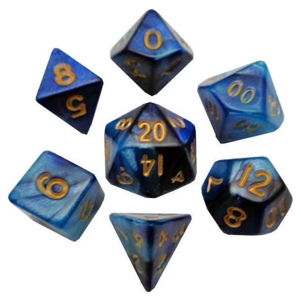 Small 7-piece dice set - Dark and light blue