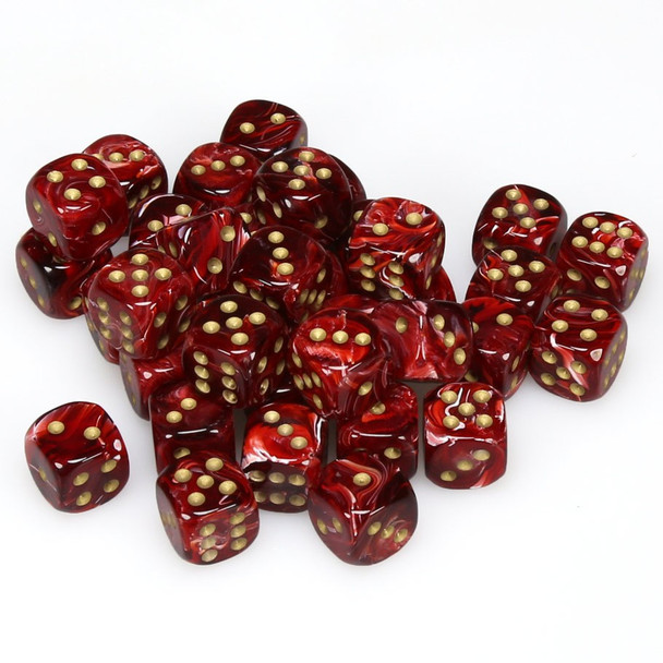12mm Burgundy Vortex Dice - Set of 36