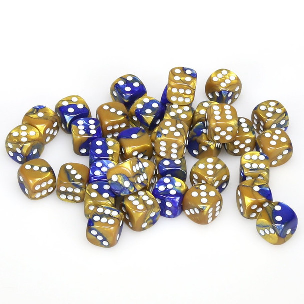 12mm Gemini Blue and Gold d6s - Set of 36