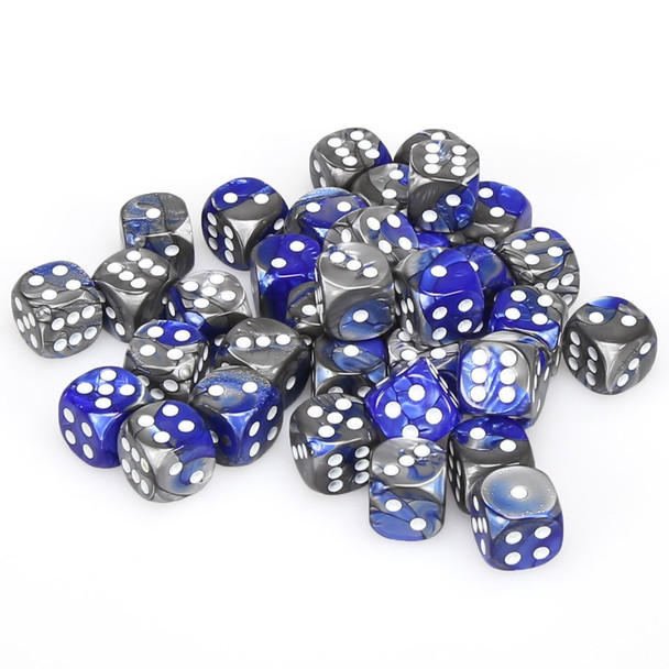 12mm Gemini Blue and Steel d6s - Set of 36