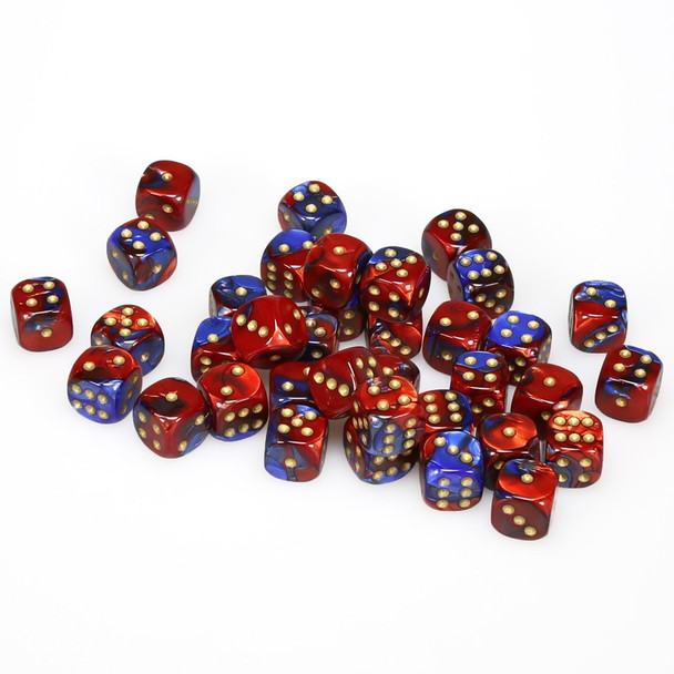 12mm Gemini Blue and Red d6s - Set of 36