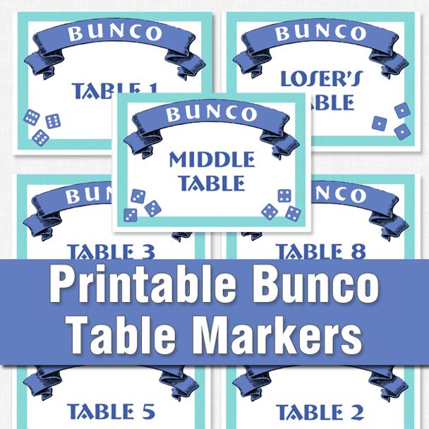 Bunco printable table markers