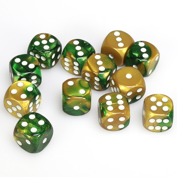 Set of 12 Gemini d6 dice - Gold and green with white spots