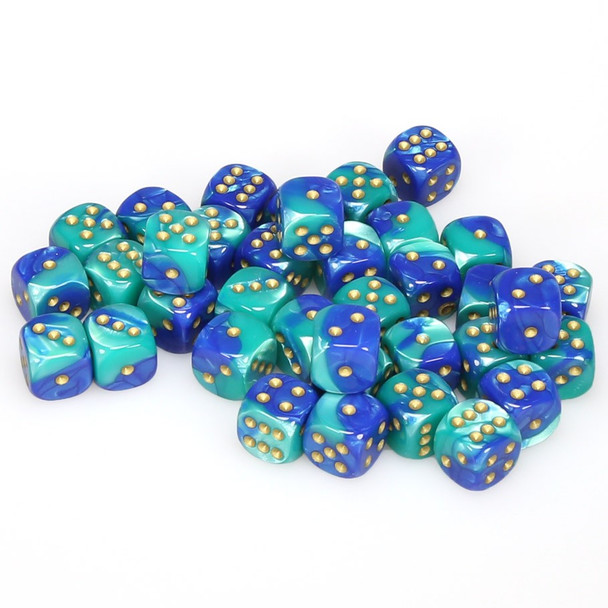 12mm Gemini Blue and Teal d6s - Set of 36