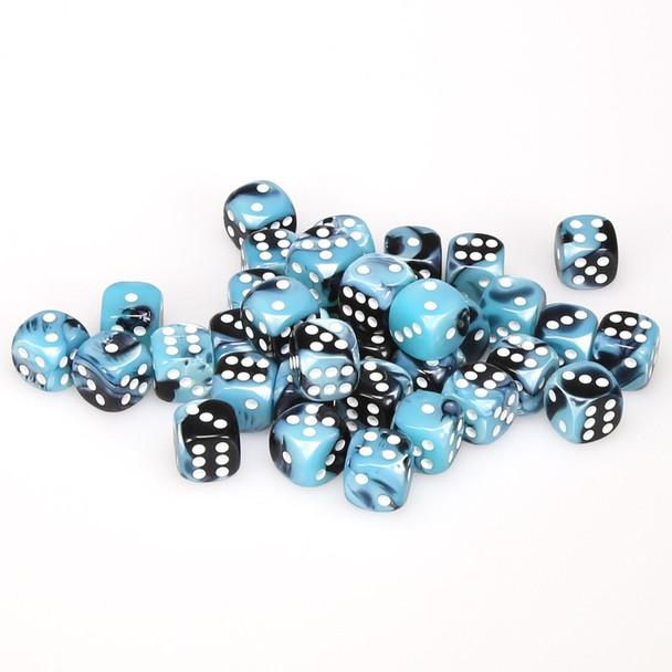 12mm Gemini Black and Shell d6s - Set of 36