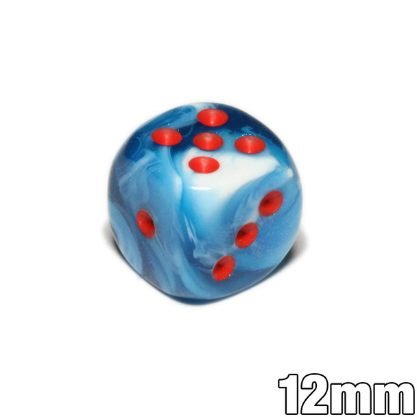 Astral Blue and White 12mm Gemini d6