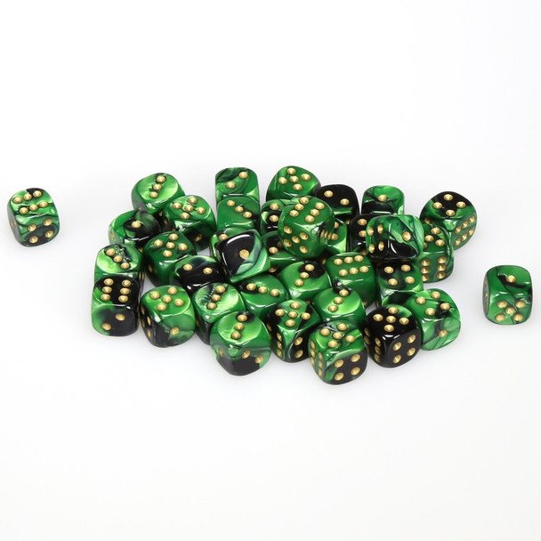12mm Gemini Black and Green d6s - Set of 36