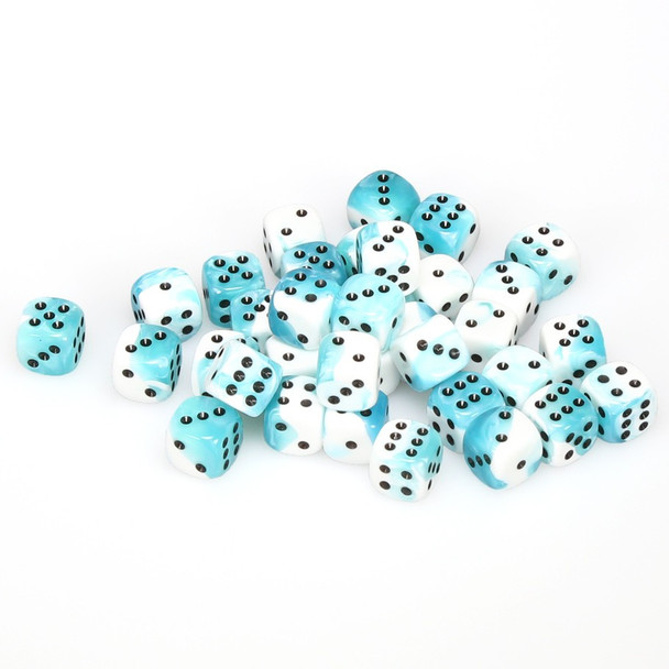 12mm Gemini Teal and White d6s - Set of 36