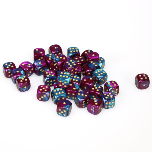 12mm Gemini Purple and Teal d6s - Set of 36