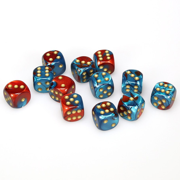 Set of 12 Gemini d6 dice - Red and teal with gold spots