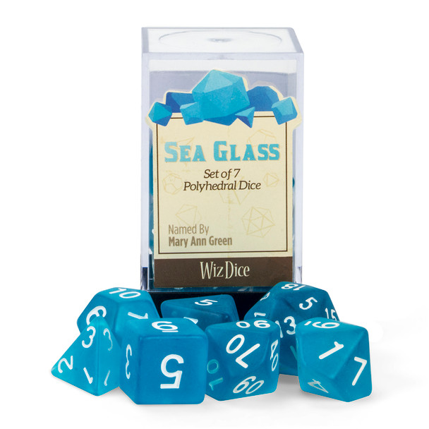 Frosted Polyhedral Dice Set - Sea Glass