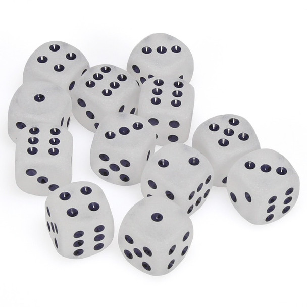 Set of 12 Frosted Clear six-sided dice