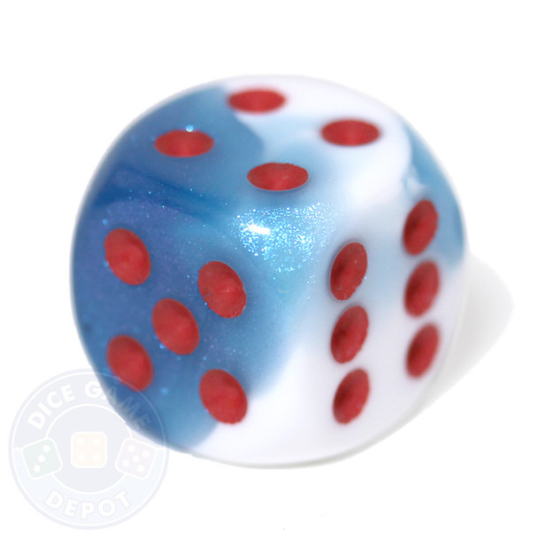 Astral White and Blue - Gemini 6-sided dice from Chessex