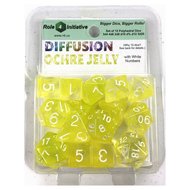 Diffusion 15-piece D&D dice set - Large 19mm dice - Ochre Jelly