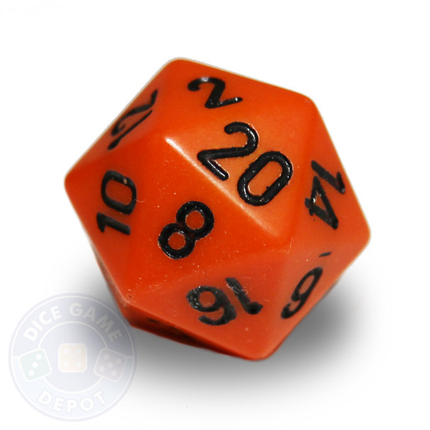 Orange 20-sided dice