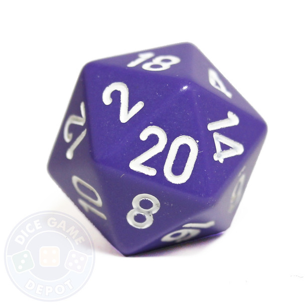 Purple 20-sided dice