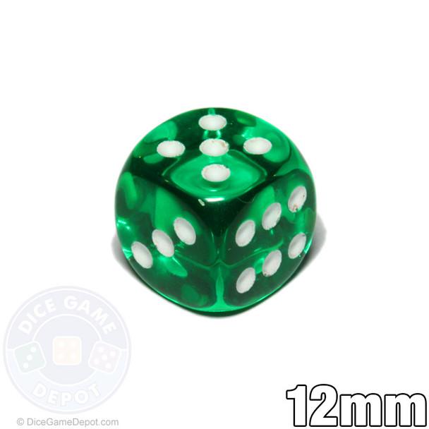 Transparent 12mm round-corner dice - Green