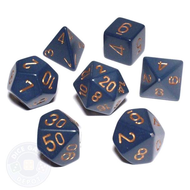 Opaque dusty blue 7-piece D&D dice set