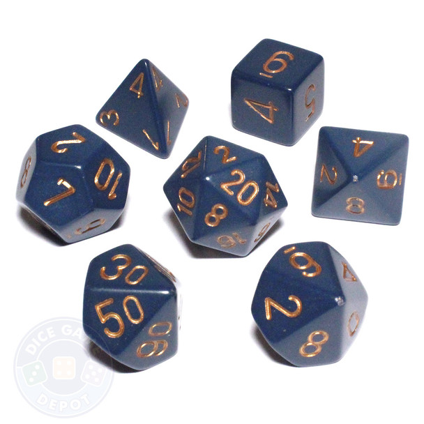 Opaque dusty blue 7-piece D&D dice set
