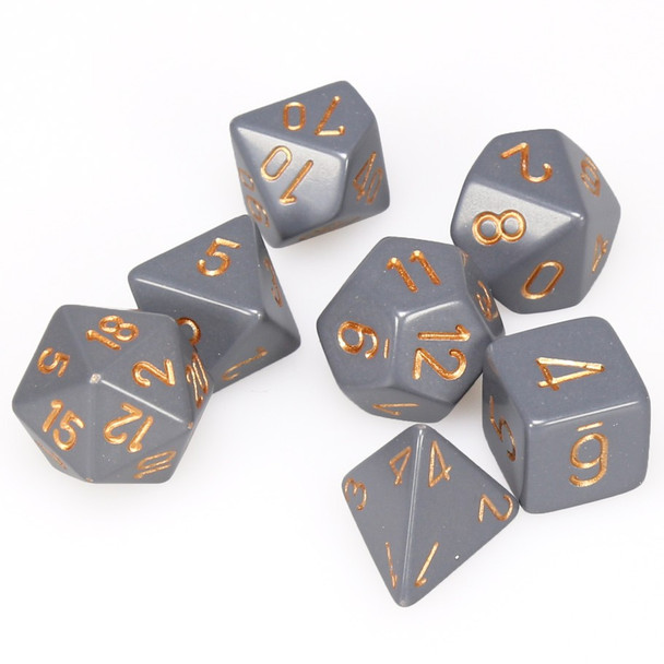 Opaque dark gray 7-piece DnD dice set