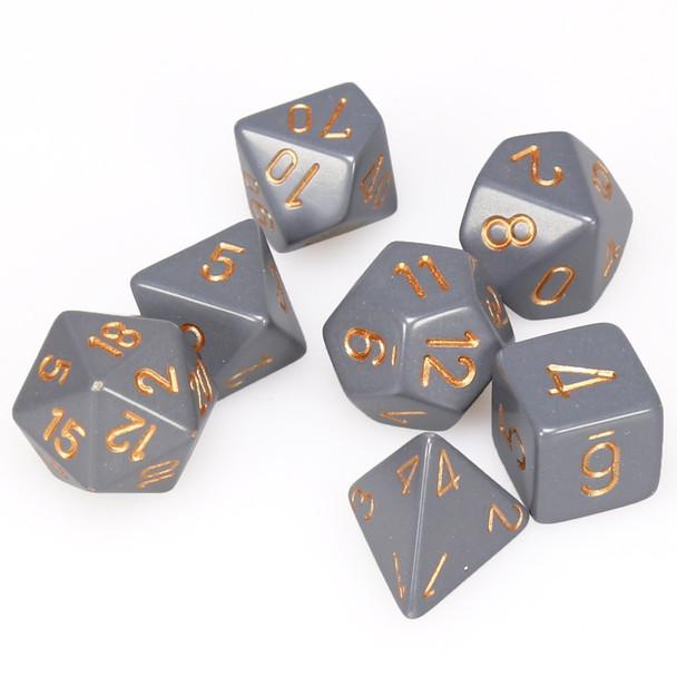 Opaque dark gray 7-piece DnD dice set