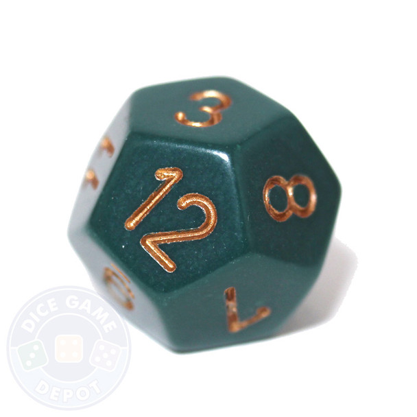 12-sided dice - Dusty Green