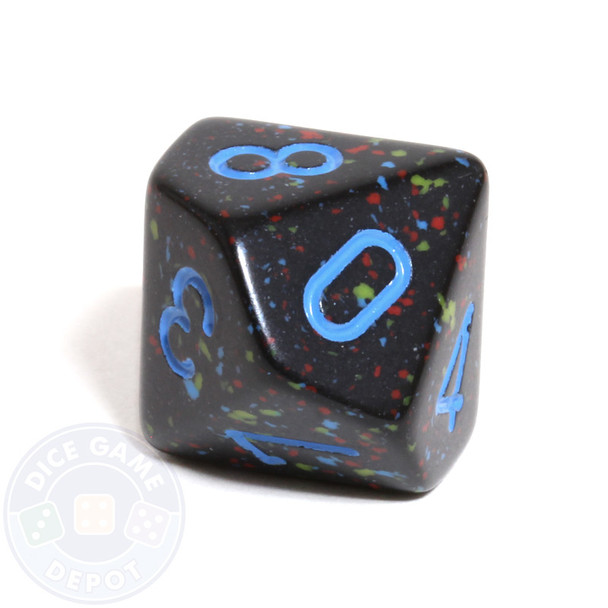 d10 dice - Speckled Blue Stars