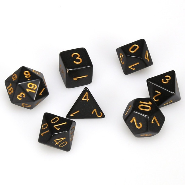 Opaque black with gold 7-piece D&D RPG dice set