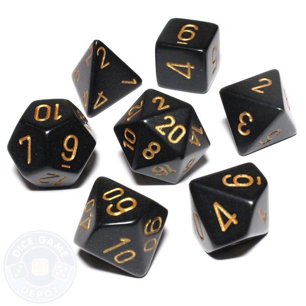 Opaque black with gold dice set - DnD dice
