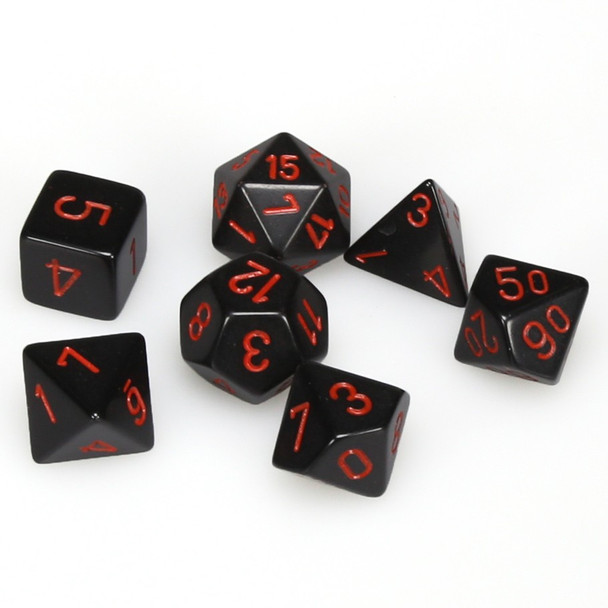 Opaque black with red 7-piece D&D RPG dice set