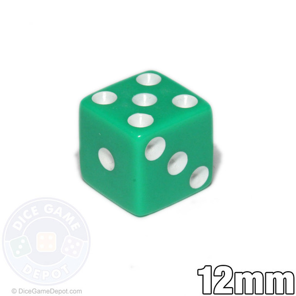 12mm Opaque Green Dice