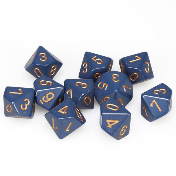 d10 set of ten dusty blue dice