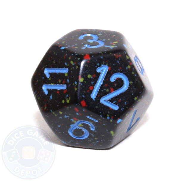 d12 - Speckled Blue Stars 12-sided Dice