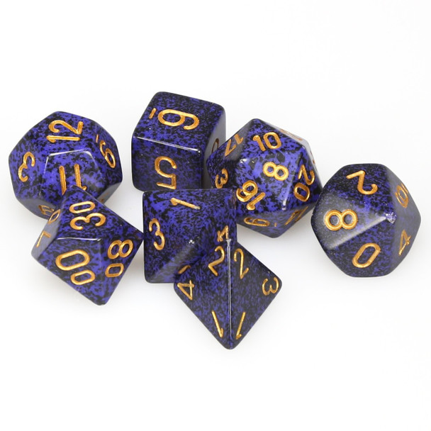 Speckled Golden Cobalt dice set