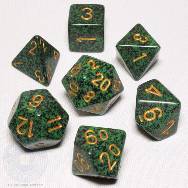 Speckled DnD dice set - Golden Recon