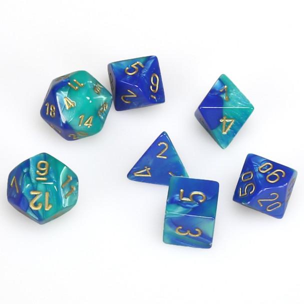 7-piece Gemini dice set - Blue and Teal