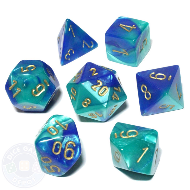 Gemini dice set - D&D dice - Blue and Teal